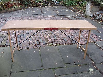 Vintage Wooden Folding Pasting Table. Decorator's Bench or Car Boot Stall Table