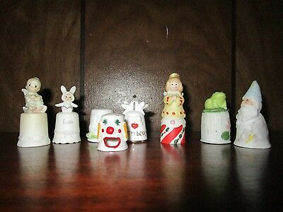 Lot of Assorted Thimbles:Precious Moments, Clown, Frog, Love Birds, Wizard,Angel