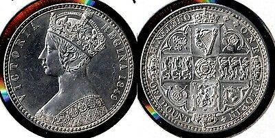 "BEAUTIFUL 1849 Queen Victoria ""Godless"" Florin =  PRICE REDUCED  !!!!!"