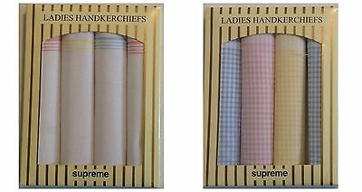 New Ladies 4 Multi-Pack Gift Boxed 100% Cotton Handkerchiefs White Check Hankies