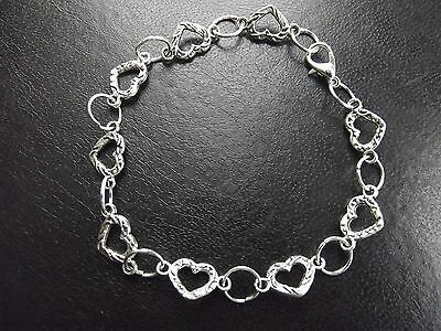 Silver Plated Bracelets HEART Charms WHOLESALE 10