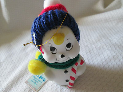 Snowbells Porcelain Bell Ornament Snowman Figurine Giftco Blue - red Hat  NWT