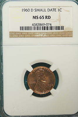1960-D NGC MS65 RED SMALL DATE Lincoln Memorial Cent!! #A6849