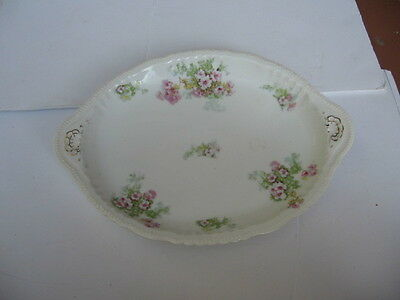 Antique Imperial Carlsbad Austria Porcelain Small Platter Lavender Flower