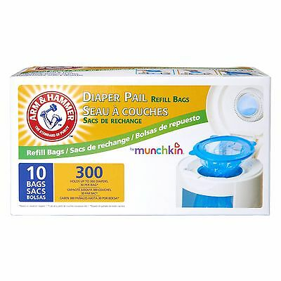 Munchkin Arm & Hammer Diaper Pail Refill Bags, 10 CT Holds up to 300 Diapers