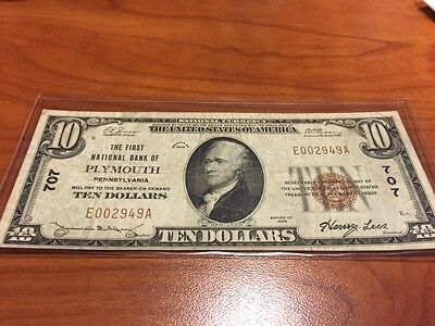1929 $10 Plymouth PA 1st National Bank National Banknote 707