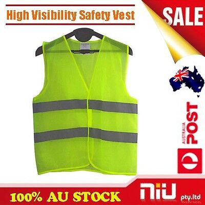 New High Visibility Safety Work Vest Day & Night Time Work Wear Yellow fluro AU