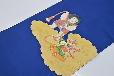 Vintage Japanese Royal Blue Silk Nagoya-Obi For Kimono Kitsuke 'Boy with Wagon'