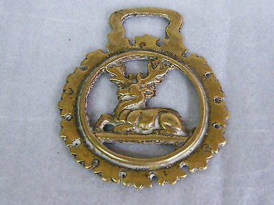 Cast Brass HORSE BRASS LYING STAG  2.9inWide61gms #706
