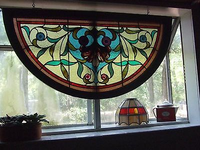 Antique church window stained glass many colors all original glass, Madison, FL
