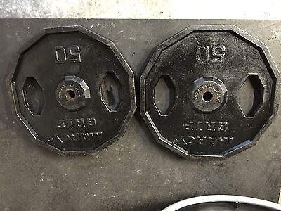 Vintage Set Of (2) Marcy Grip 50 Lb Cast Iron Weights Total 100Lbs Very Nice!!