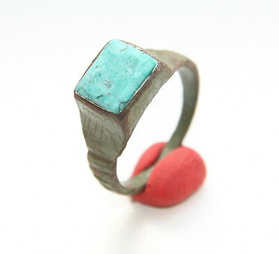 Ancient Medieval Bronze Finger Ring With Turquoise Inlay (FBB01)