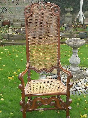 Large Antique French Carved Walnut And Cane Armchair Throne