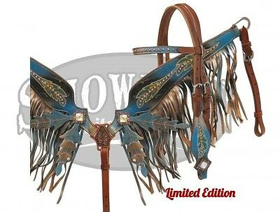 Showman LIMITED EDITION Black & Blue Painted Headstall & Breast Collar Set! TACK