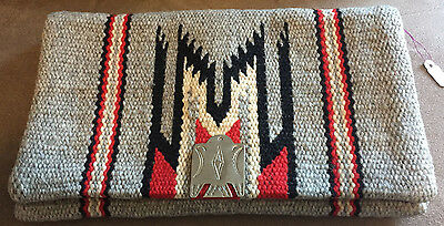 Vintage 40s Fred Harvey CHIMAYO Indian BLANKET waist Purse Silver Thunderbird