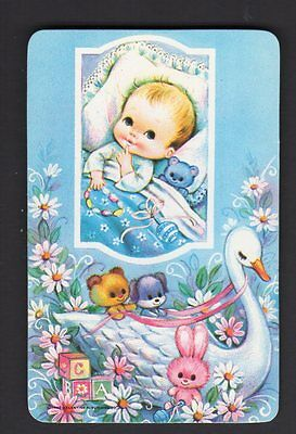 Valentine Swap Card - Gorgeous Baby Boy in Bed with Teddy (BLANK BACK)