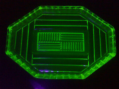 Art Deco Uranium green Glass vanity tray