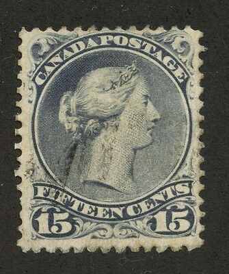 Canada 1868 Large Queen 15c Very thick paper deep violet #30c used