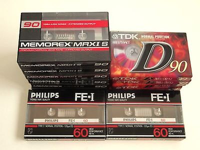 TDK D90 + Memorex MRXI S 90 + Philips FE-I 60 Tapes x 10 New & Sealed