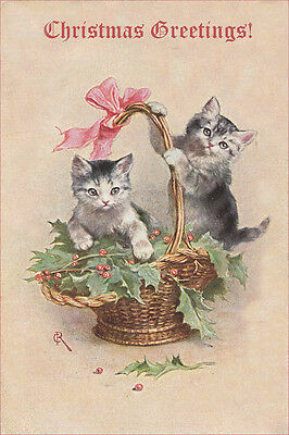 ADORABLE Kitten Cats 1906 by Carl Reichert LARGE New Blank Christmas Note Cards