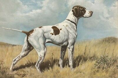 Pointer Dog Aritst Edwin Mergargee 1942 -  LARGE New Blank Note Cards