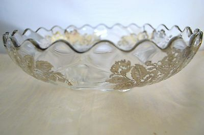 """Vintage Cambridge Caprice Footed 10"""" Bowl Silver Overlay Flowers Bees"""