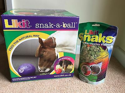 Likit Snak-A-Ball Horse Treats And Dispenser. Brand New. With Free Pack Of Snaks