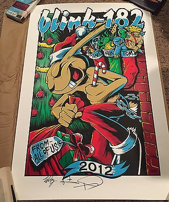 BLINK-182 POSTER PRINT Signed BY Band BRANDON HEART 2012 Christmas 1St Ed