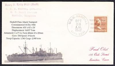 WWII Attack Transport USS RANDALL APA-224 1947 Naval Cover 1 Made