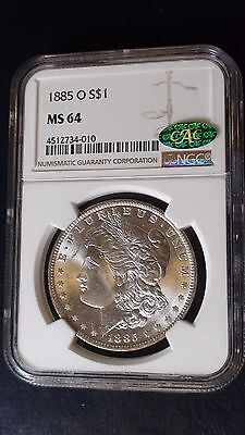 1885 O Morgan Silver Dollar $1 NGC & CAC MS 64 New Orleans Mint Cerified Coin