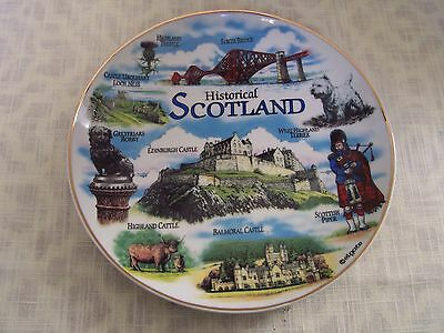 "SCOTLAND Porcelain Souvenir Plate 8"" Gold Trim Balmoral Castle Forth Bridge"