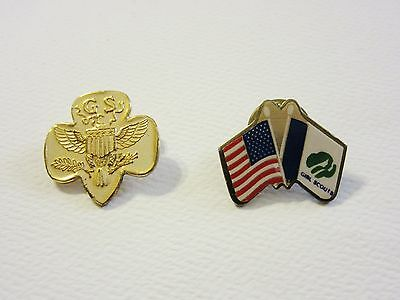 2 Girl Scout Pins - Trefoil and Flag Pins