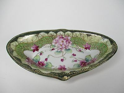 Antique Hand Painted Dish Gold Flowers Vintage Green Pink