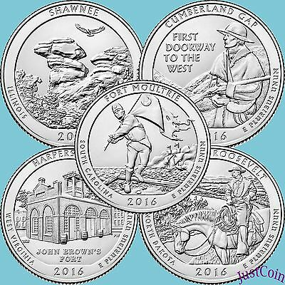 2016-S Shawnee Cumberland Harpers Ferry Roosevelt Moultrie 5 Pcs Quarters Set