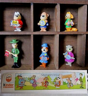 Complete Set of Vintage'95  Kinder Surprise Yogi Bear Figurines With all Papers