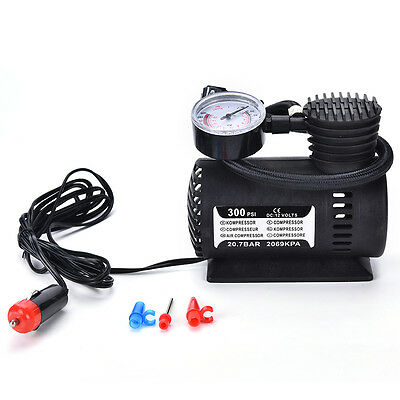 12V Portable Mini Air Compressor 300 PSI Bike Car Tyre Inflator Pump CigaretteWB