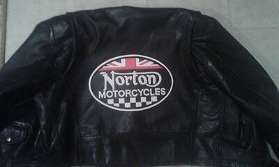 Norton Motorcycles British oval back patch. 12 inch. Synthetic leather. New.