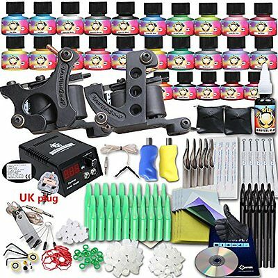 Popular Beginner Tattoo Kit Set Top USA brand inks 25 Color Inks Power 2 Guns