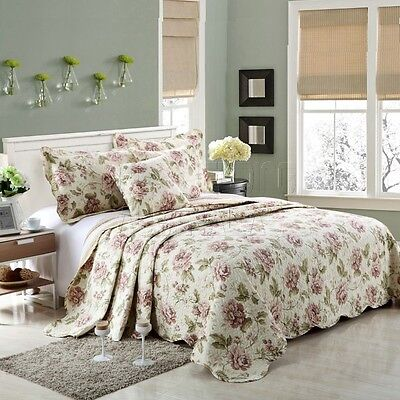 100% Cotton Coverlet / Bedspread Set Quilt Queen King Size Bed 230x250cm Rose