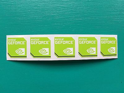 "5x ""Nvidia GeForce"" Sticker 17.5 x 17.5mm Case Badge New Version Logo USA Seller"