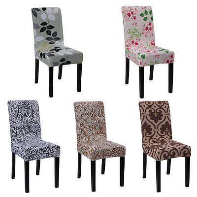 4/6 pcs Removable Stretch Slipcovers Short Dining Room Stool Seat Chair Cover