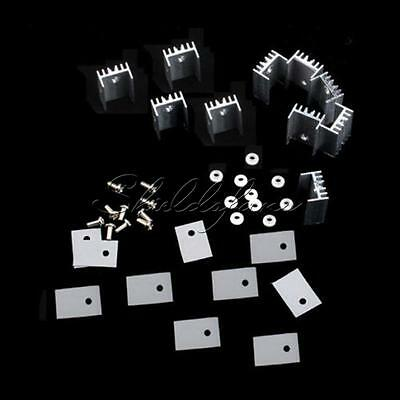 10pcs Aluminum Heatsink Heat Sink with Screw Sets TO-220 Transistor 20×15×10mm