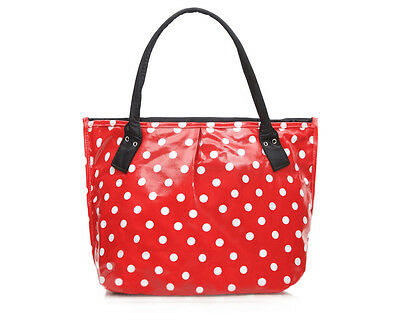 Womens Red polka dot Oilcloth Tote shoulder Craftbag shopper bag ladies cotton