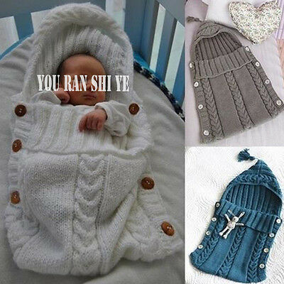 Winer Baby Button Sleeping Bag Knitted Bed Blanket Swaddle Baby Sleep Sack
