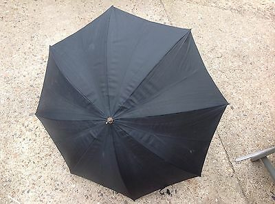 Vintage 1960's Gauntle Black Small Umbrella with a White Handle
