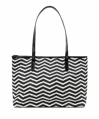 Womens Black white Chevron Raffia Tote shoulder handbag shopper ladies vegan