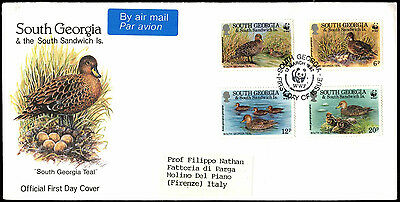 South Georgia 1992 Georgian Teal, Birds FDC First Day Cover #C38373