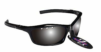 RayZor Uv400 Black Vented Smoked Mirrored Lens Cricket Wrap Sunglasses RRP£49