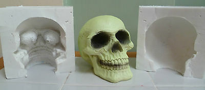 9cm 3D SKULL SILICONE MOULD FOR CAKE TOPPERS CHOCOLATE, CLAY ETC