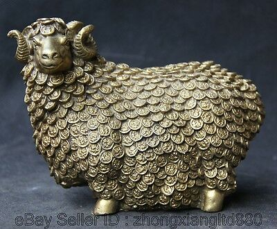 """6"""" Chinese Fengshui Brass Zodiac Year Sheep Goat Wealth Coin Statue Sculpture"""